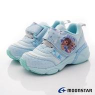 日本月星Moonstar機能童鞋迪士尼聯名系列寬冰雪奇緣電燈鞋款12719藍(中小童段)