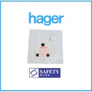 Hager WGMS115S 15A 1G Round Pin Switched Socket
