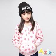【Azio Kids 美國派】女童 外套 滿版草莓連帽口袋外套(粉)