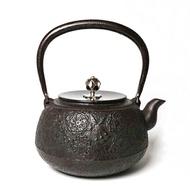 日本鑄鐵壺南部鐵器 佐藤勝芳 平丸 櫻 鐵壺1.3L 銀摘銅蓋 鐵瓶 煮水 泡茶 茶壺 茶具