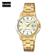 Velashop  นาฬิกาผู้หญิงสาย Casio สีทอง สแตนเลส  รุ่น LTP-V004G-9BUDF LTP-V004G-9B LTP-V004G