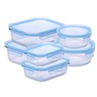 熱銷商品接單後5日出貨【NEOFLAM】升級版專利無膠條耐熱玻璃保鮮盒6件組-藍(耐熱520度)