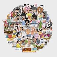 50PCS ภาพเคลื่อนไหว Happy Burger Shop การ์ตูน Doodle ของเล่นส่วนบุคคลกระเป๋าเดินทางสเก็ตบอร์ดแล็ปท็อปสติกเก...