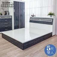 【南亞塑鋼】5尺雙人塑鋼床組(床頭箱+床底-鐵刀木色)