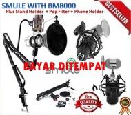 PEKET Microphone Mic Kondenser BM 8000 PAKET RECORDING condeser mikrofon full set