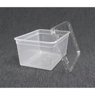 【1000cc 餅乾盒+蓋】500組 冰淇淋桶 長方形盒 點心盒 外帶盒 透明盒 食品盒 包裝盒 塑膠盒 糖果盒 晶