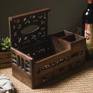 泰國復古實木抽屜式客廳桌面遙控器收納盒木