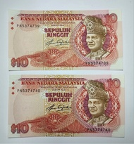 Malaysia Old Banknote RM 10 Ringgit Taha Signed ( Uncirculated Like New Issue Running Number 2 Pieces)