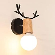 Bright Nordic Wood Art Creative Personality Antler Living Room Bedroom Wall Lamp Bathroom Vanity Mirror Cabinet Light Bathroom Mirror Headlights Illuminate Your Life (Color : White),Colour:Black