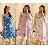 Cute Spaghetti Dress For Women Pajama Sleepwear Duster Freesize