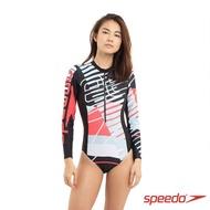 【SPEEDO】女 運動長袖連身泳裝 Logo(黑/紅)