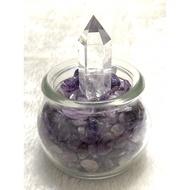 天然白水晶柱 + 紫水晶能量杯