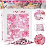 TURT 1000pcs Wooden Puzzle Rose Pattern Fashion Challenge Blue Board Jigsaw Puzzles Gift for Adult Kids 【Fast delivery】