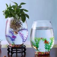 【迷你魚缸】◎▩✌魚缸玻璃創意圓形水培透明客廳中型辦公室桌面小型金魚迷你小魚缸