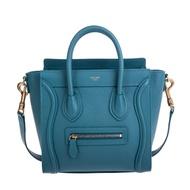 CELINE 新款Nano Luggage 荔枝紋牛皮金釦手提/斜背冏包 (PRUSSIAN BLUE)