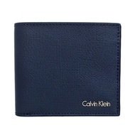 Calvin Klein 午夜藍壓紋防刮真皮雙折短夾