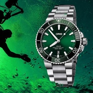 【ORIS 豪利時】Aquis 時間之海潛水300米日期機械錶-綠水鬼x銀/43.5mm(0173377304157-0782405PEB)