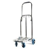 手推車新款不銹鋼四輪萬向折疊行李車加大橡膠輪載重王手推車便攜購物車 MKS克萊爾