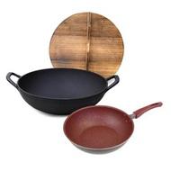 【岩鐵鐵器】中華鑄鐵鍋(附杉木鍋蓋)33CM +麥飯石不沾平底鍋 26