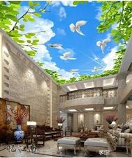 天花板吊頂壁紙自黏牆紙3D視覺壁畫創意牆貼畫貼紙藍天白雲天空星
