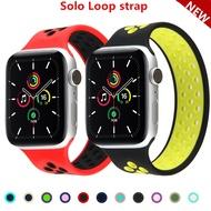 Solo LoopสำหรับสายคาดApple Watch 44มม.40มม.38มม.42มม.Breathable Elasticเข็มขัดสร้อยข้อมือซิลิโคนApple Watch Series 1 2 3 4 5 SE 6สาย