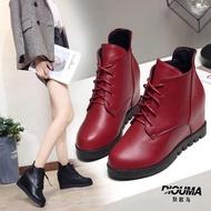 新款女靴子平底內增高單靴短靴女厚底加絨棉靴馬丁靴女潮