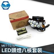 鋁合金材質 可充電池 LED燈 可更換電池  LED頭燈八核 工仔人 MET-T076