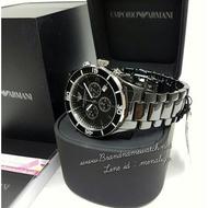 EMPORIO ARMANI手錶/AR1421/黑色三眼計時多功能陶瓷男士腕錶