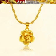 916 real gold flower pendant