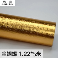 JUNE.SUN gold silver TV background wall mirror sticker self-adhesive waterproof wallpaper new glass