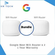 [Authorised Partner] Google Nest Wifi Router 2 Pack  –  Mesh Wi-Fi Routers x 2 with 4400 Sq Ft Coverage Comes with 3pin plug (SG Safety Mark)