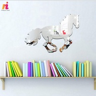 3D Galloping Horse DIY Mirror Wall Clock Wall Sticker Home Room Decoration