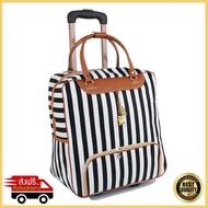 กระเป๋าลากใบเล็ก กระเป๋าเดินทางใบเล็ก กระเป๋าเดินทางล้อลาก กระเป๋าลากเดินทาง กระเป๋าล้อลาก กระเป๋าเดินทาง กระเป๋าเดินทางขนาดเล็ก travel bag ลายทาง รุ่น MLT-003 (สีขาว/ดำ)