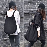[UNIDO] 原創手作 簡約隨性兩用包 單肩側背包 後背包/ 厚實棉麻包 / 電腦包 / A4/ 暖心禮物 黑色