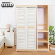 【南亞塑鋼】4.7尺拉門/推門塑鋼百葉衣櫃組合(白橡色+白色)