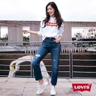 Levis 女款 501Crop高腰排釦直筒牛仔褲 / 刷破 / 及踝款