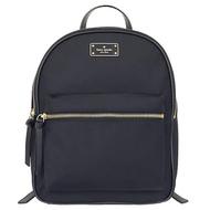 【KATE SPADE】黑色尼龍鐵牌前拉鍊口袋後背包