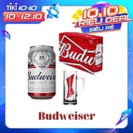Thùng bia BUDWEISER 330ml x 24 lon tặng kèm ly bia