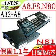 ASUS F8 電池-華碩 F8P,F8SA,F8SV,F8DC,F8SR,F8S,F8TR,F8SN,B991205,90-NF51B1000,A32-A8