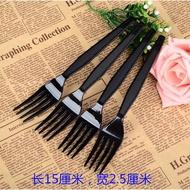 一次性叉子帶紙巾水果茶叉子黑色獨立裝加厚外賣塑膠長西餐叉