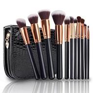 Makeup Brushes, VANDER LIFE Professional Travel Rose Gold Makeup Brush Set 11Pcs with Case Organizer Crocodile Skin