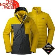 【The North Face 男款 550fp 兩件式羽絨外套灰《黃》】羽絨外套/兩件式外套/防水外套/365BUPQ