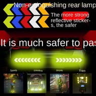 Reflective Car Sticker Bicycle Luminous Anti-Collision Reflective Stickers Night Warning Arrow Reflective Film Special Decorative Stickers Motorcycle tide sticker