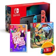 任天堂Switch主機(電量加強版)+健身環大冒險+舞力全開2020《送:遊戲卡帶盒+玻璃保護貼+手把果凍套含類比組》紅藍手把