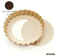 【嚴選SHOP】學㕑4吋不沾活底菊花邊圓盤 CHEF MADE WK9022 塔盤派盤蛋塔模蛋糕模菊花模塔盤【K140】