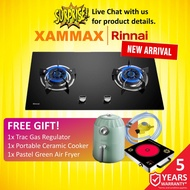 Rinnai - RB782G - 4.5kW 2 Burner Glass Cooking Built In Gas Cooker Hob / Gas Stove Tungku Dapur