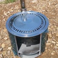 ♧小磊柴火爐帶煙囪戶外野炊爐具農村柴火灶燒炭爐野營爐露營防風爐