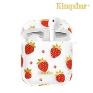 【Kingxbar】鮮語系列 AirPods 充電盒保護套 施華洛世奇水鑽 無線耳機收納盒 硬殼-草苺(耳機套 保護套)