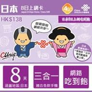 日本上網卡 日本 網卡 上網SIM卡 軟銀8日 4G高速 4GB流量 無限上網吃到飽上網卡