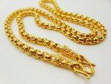 Thai Jewelry สร้อยคอทอง ผ่าหวาย ขัดเงา งานชุบทองไมครอน ชุบด้วยเศษทองคำแท้ 96.5% หนัก 1.5 บาท ยาว 18 นิ้ว ตะขอปั๊ม ทองชุบ